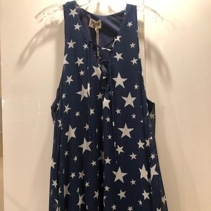 Blue And White Stars Lace Up Tunic Casual Dress